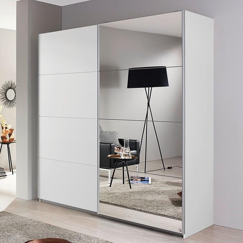 Armoire coulissante avec miroir blanc brillant - Armoire chambre avec miroir ...