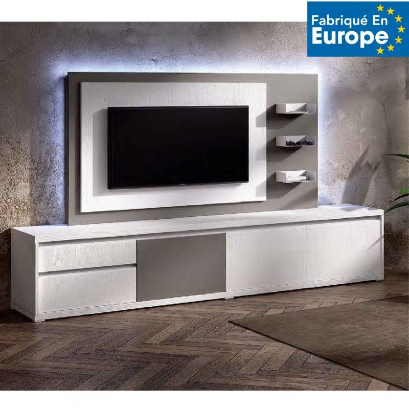 Meuble Tv Design Blanc Avec Panneau Tv Blanc Gris Brun